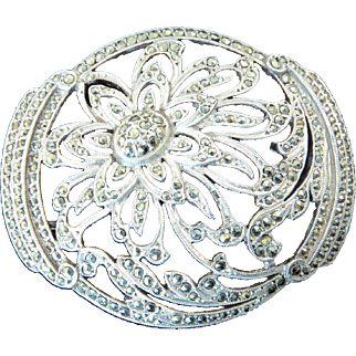Large French Art Deco Silver and Marcasite Brooch