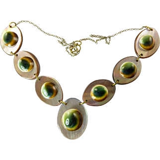 Vintage Operculum and Mother of Pearl Necklace