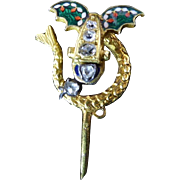 Antique French Winged Serpent Stick Pin in Enamel, 18 Karat Gold, and Diamond