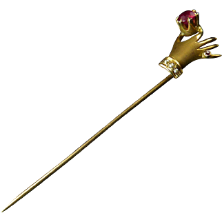 Antique Gold Stick Pin of Hand Holding a Ruby and with Seed Pearl Cuffs
