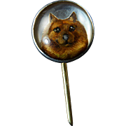 Antique Essex Crystal Stick Pin of Dog Set in Platinum and 14 Karat Gold