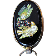 Victorian Micromosaic Stickpin with Doves