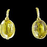 Antique Citrine Oval Drop Earrings Set in 12 Karat Gold