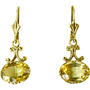 Edwardian Citrine and 14 Karat Gold Earrings