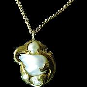 Art Nouveau 14 Karat Gold Pendant With Baroque Pearls