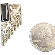 German Art Deco Sterling Clip with Onyx and Marcasites