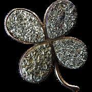Vintage Iron Pyrite Four Leaf Clover Brooch set in 10 Karat Gold