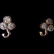 Vintage Pyrite Shamrock Stud Earrings Set in 10 Karat Gold