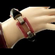 Art Deco Sterling Link Bracelet with Black Cabochons and Pink Links