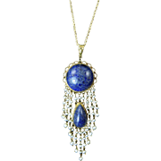 Lapis Pendant Set in 14 Karat Gold with Seed Pearl Fringe