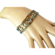 Vintage Egyptian Revival Enameled 800 Silver Bracelet