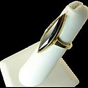 Edwardian Hematite Navette Ring Set in 10 Karat Gold
