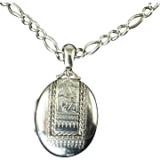 Victorian Sterling Locket on Antique Sterling Chain