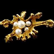 Hans Langenbacher Brutalist 18 Karat Gold Brooch with Cultured Pearls