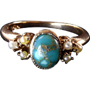 Antique White, Wile, & Warner 14 Karat Gold Turquoise and Seed Pearl Ring