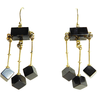 Victorian Jet and 14 Karat Gold Triple Drop Earrings
