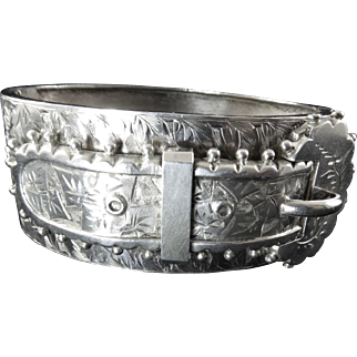 Victorian Silver Hinged Buckle Bangle Bracelet