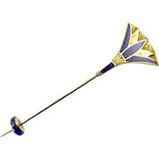 Vintage Egyptian Revival Lotus Hat Pin in Gold and Silver Inlaid with Lapis