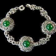 Art Deco Sterling, Marcasite, and Chrysoprase Bracelet