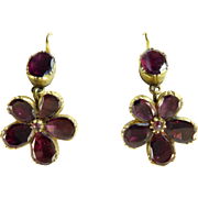 Georgian Garnet Pansy Earrings in 14 Karat Gold