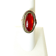Late Georgian Ouroboros Snake Ring with Red Stone