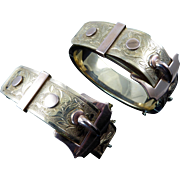 Pair of Victorian Gold-filled Buckle Bracelets by Bates and Bacon