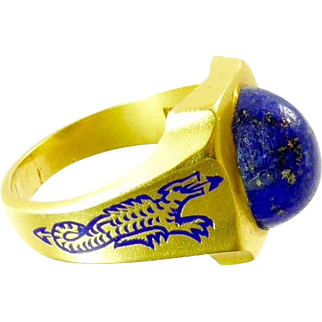 Vintage Ring with Enamel Dragons and Lapis Set in 14 Karat Gold