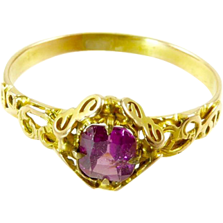 Edwardian Pink Tourmaline Ring in 14 Karat Gold