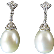 Elegant Cultured Pearl, White Gold, and Diamond Drop Earrings