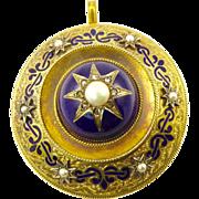 Huge Victorian 18 Karat Gold Locket with Blue Enamel, Pearls, and Rose Cut Diamonds
