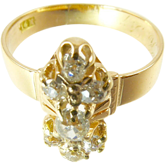 Victorian Diamond Ring 14 Karat Gold .8 Carat Diamonds