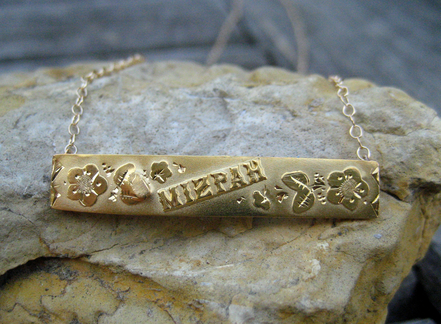 Victorian Mizpah Gold Bar Necklace 9k & 14k from circa1700 on Ruby ...