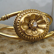 Treasure in Victorian Etruscan Revival Diamond & Gold Bracelet 14k