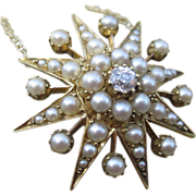 Bright Star Victorian Diamond & Pearl Starburst Converted 18k Necklace