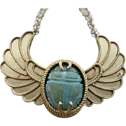 Wings of Desire Victorian Winged Scarab Converted 18k & 14k Necklace