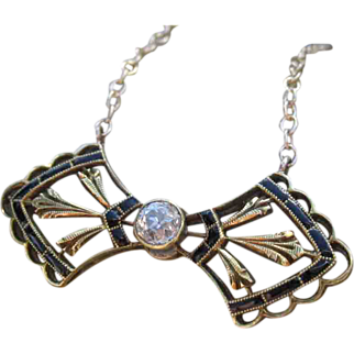 Tied to Perfection Victorian Diamond and Enamel Bow Tie Converted Necklace 14k