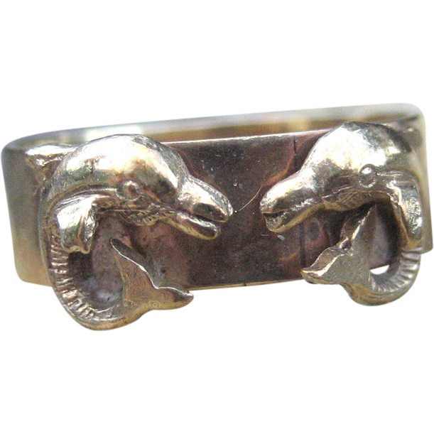 Highly Unique Edwardian Dual Dolphin Love Token Ring 9k
