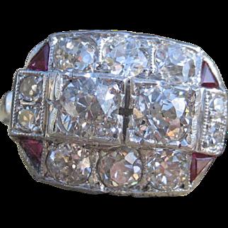 Cherry Sundae Deco Diamond & Ruby Deco Platinum Ring