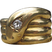 Luxurious Antique Snake Charmer Ring 18k