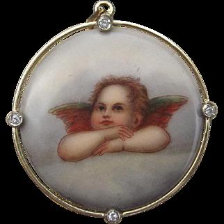 Victorian Hand Painted Porcelain Cherub Angel to Watch Over You w/ Diamonds & 18k