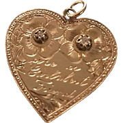 Diamonds Are A Girls Best Friend Heart Pendant Charm 14k