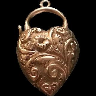 Victorian Floral Embossed Heart Padlock 9k