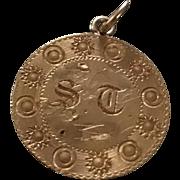 """Victorian Moon & Sun """"ST"""" Love Token Coin 22k"""