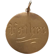"Victorian ""Father"" Love Token Coin 22k"