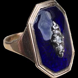 Georgian Memento Mori Enamel & Diamond Ring Silver & 14k