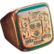 Glorious Deco Crest & Enamel Signet Ring 14k