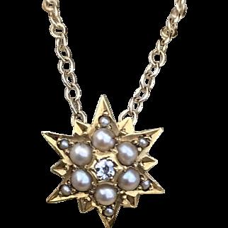 Victorian Diamond Pearl Mini Star Pendant Necklace 14k