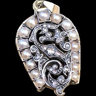"Victorian Diamond & Pearl ""S"" Silver & Gold Horseshoe Pendant"