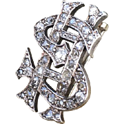 "Victorian Diamond ""SH"" Monogrammed Silver & Gold Brooch"