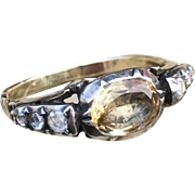 Georgian Citrine Diamond Gold & Silver Ring